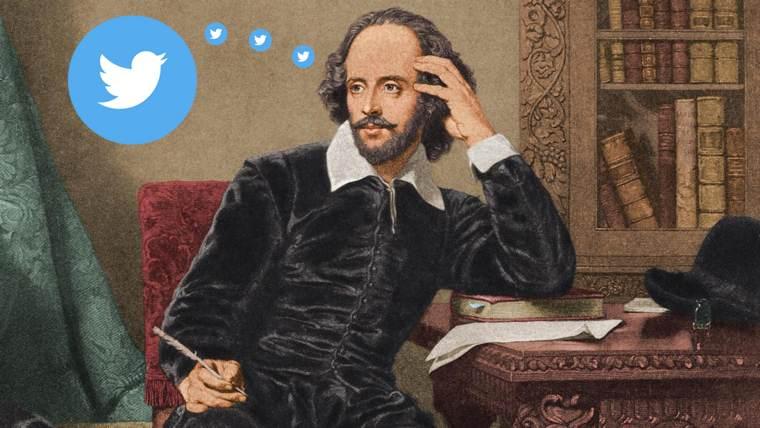 Twitter per gli scrittori: Shakespeare accanto all'icona del medium sociale